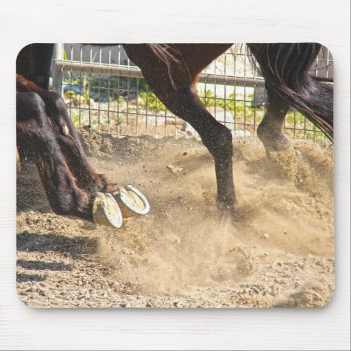 Horse hooves trampling the dirt. mouse pads