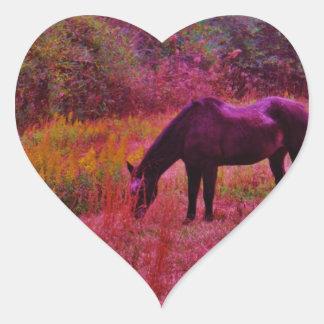 Horse in a Kaleidoscope Colored Field Heart Sticker