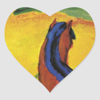 Horse in a landscape by Franz Marc Heart Sticker