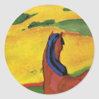 Horse in a landscape by Franz Marc Round Sticker