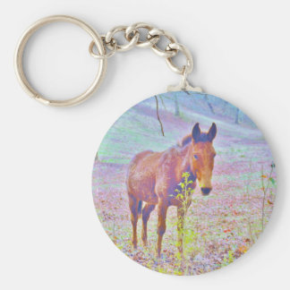 Horse in a Pastel RAINBOW PURPLE FIELD : add name Key Ring