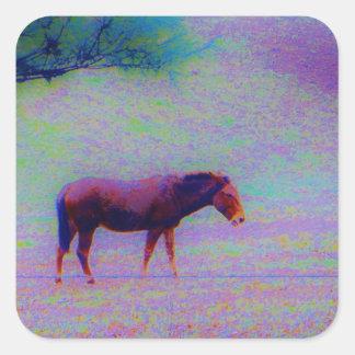 Horse IN A RAINBOW PURPLE FIELD : add name Square Sticker