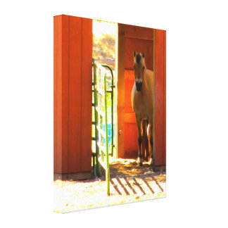 Horse in the Barn Wrapped Canvas