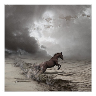 Horse in the waves, Paper poster (chechmate)