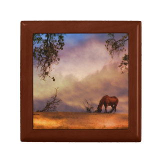 Horse in the Wind Keepsake Tile and Wood Box