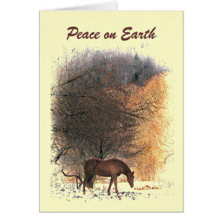 Horse in Winter Peace on Earth Card