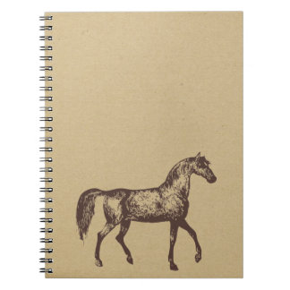horse ink stamped journal spiral notebooks