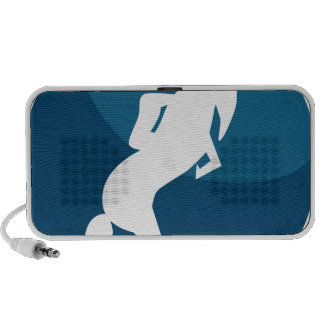 Horse Jockey Race Blue Icon Button Travelling Speakers