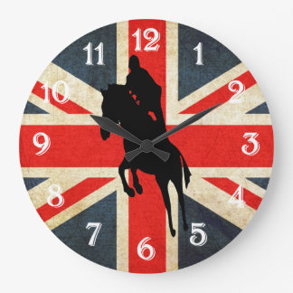 Horse Jumper Union Jack Flag Wall Clock