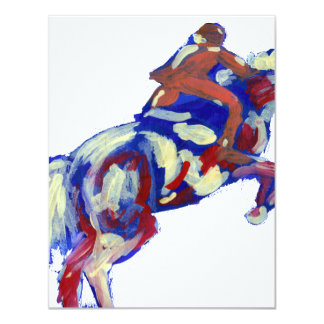 Horse Jumping Abstract Blue White Orange theme Card