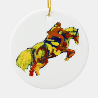 Horse Jumping Abstract Red Yellow Blue theme Ceramic Ornament
