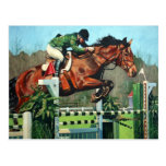 Horse jumping post card