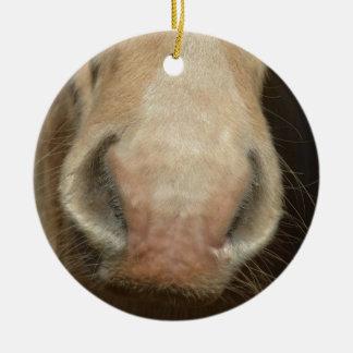 Horse Kiss Ceramic Ornament