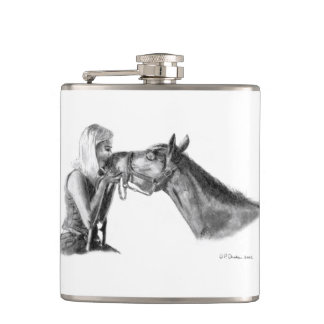 Horse Kisses Artwork Hip Flask