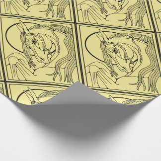 Horse Line Art Design Wrapping Paper
