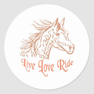 HORSE LIVE LOVE RIDE ROUND STICKERS