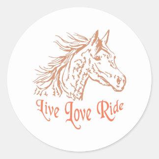 HORSE LIVE LOVE RIDE ROUND STICKER