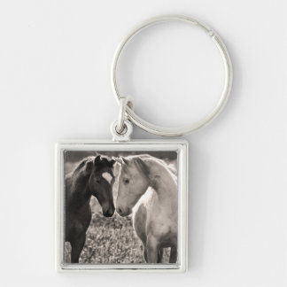 Horse Love Silver-Colored Square Key Ring
