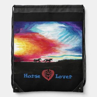 Horse Lover Horses in the Sunset Drawstring Backpa Drawstring Bag