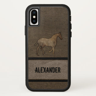 Horse Lover Leather Looking Print Masculine Brown iPhone X Case