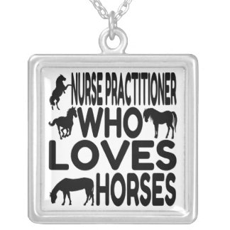 Horse Lover Nurse Practitioner Silver Plated Necklace