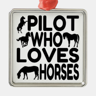 Horse Lover Pilot Metal Ornament
