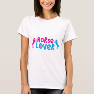 Horse Lover with two rearing horses in pink T-Shirt
