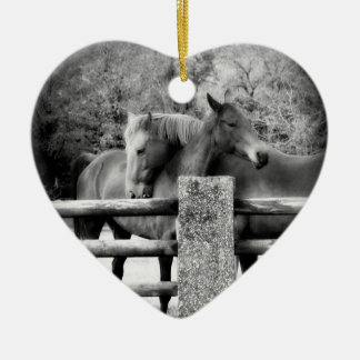 Horse Lovers Wedding or Anniversary Heart Ceramic Ornament