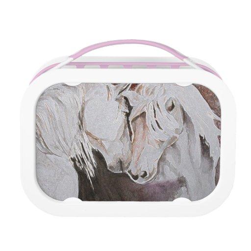 Horse Lunchbox, Peach/Pink
