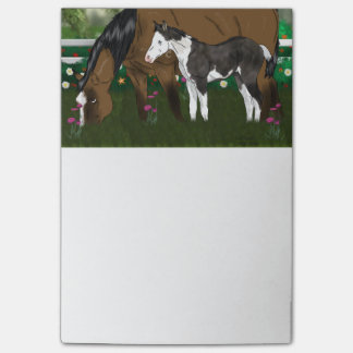 Horse Mare and Paint Foal Post-it® Notes