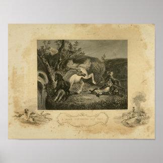 Horse Mare Defending Her Colt Art Vintage Print