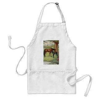 Horse Mare Foal Equestrian Vintage Image Standard Apron