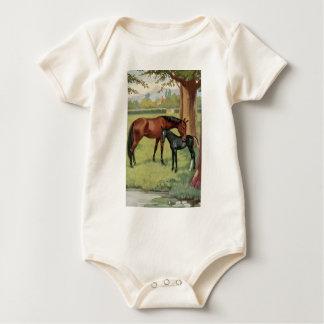 Horse Mare Foal Equestrian Vintage Image Baby Bodysuit