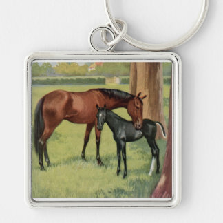 Horse Mare Foal Equestrian Vintage Image Silver-Colored Square Key Ring