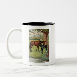 Horse Mare Foal Equestrian Vintage Image Two-Tone Mug