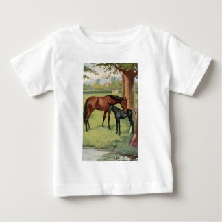 Horse Mare Foal Equestrian Vintage Image T Shirts