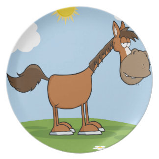 Horse Mascot Character On A Meadow Dinner Plates