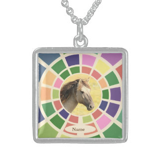 Horse Memorial Gift Colourful Personalised Sterling Silver Necklace