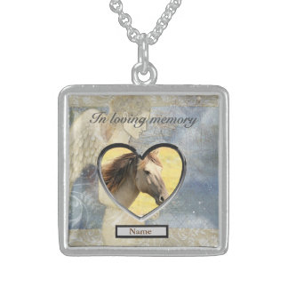Horse Memorial Gift Personalised Sterling Silver Necklace