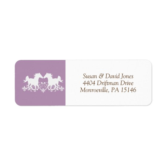 Horse modern silhouette floral return address label