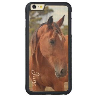 Horse Monogram Carved Maple iPhone 6 Plus Bumper Case