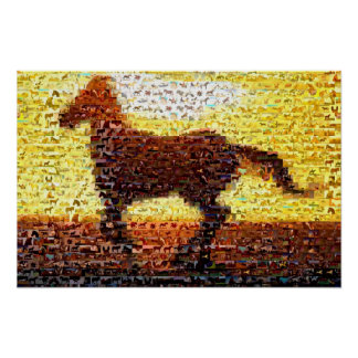 Horse montage mosaic collage poster