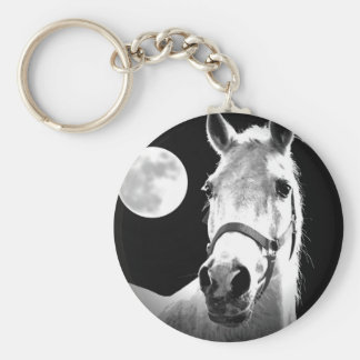 Horse & Moon Basic Round Button Key Ring