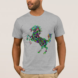Horse, mustang stallion on hind legs tshirt design