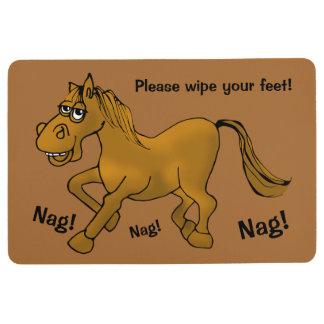 Horse.  Nag! Nag! Nag! Wipe Feet. Floor Mat
