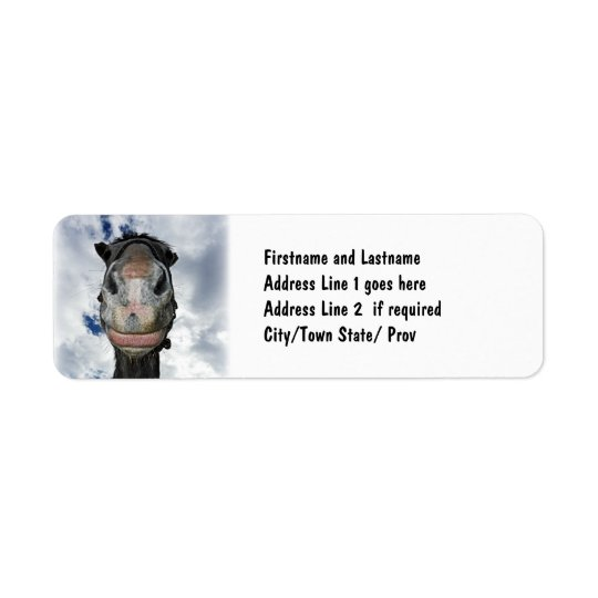 Horse Nose Knows! Funny Smiling Horse Return Address Label