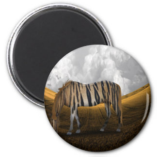 Horse of a different color 6 cm round magnet