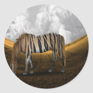 Horse of a different color round sticker