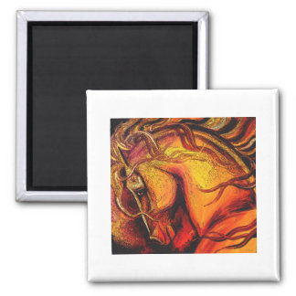 Horse of a different color square magnet