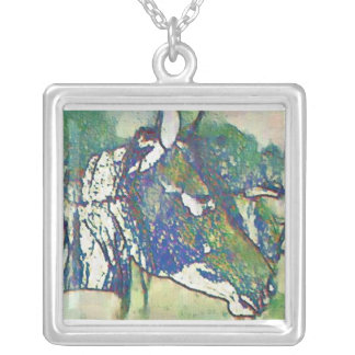 Horse of a different color square pendant necklace
